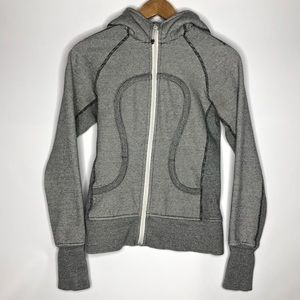 Lululemon Black and White Scuba Hoodie Size: 4